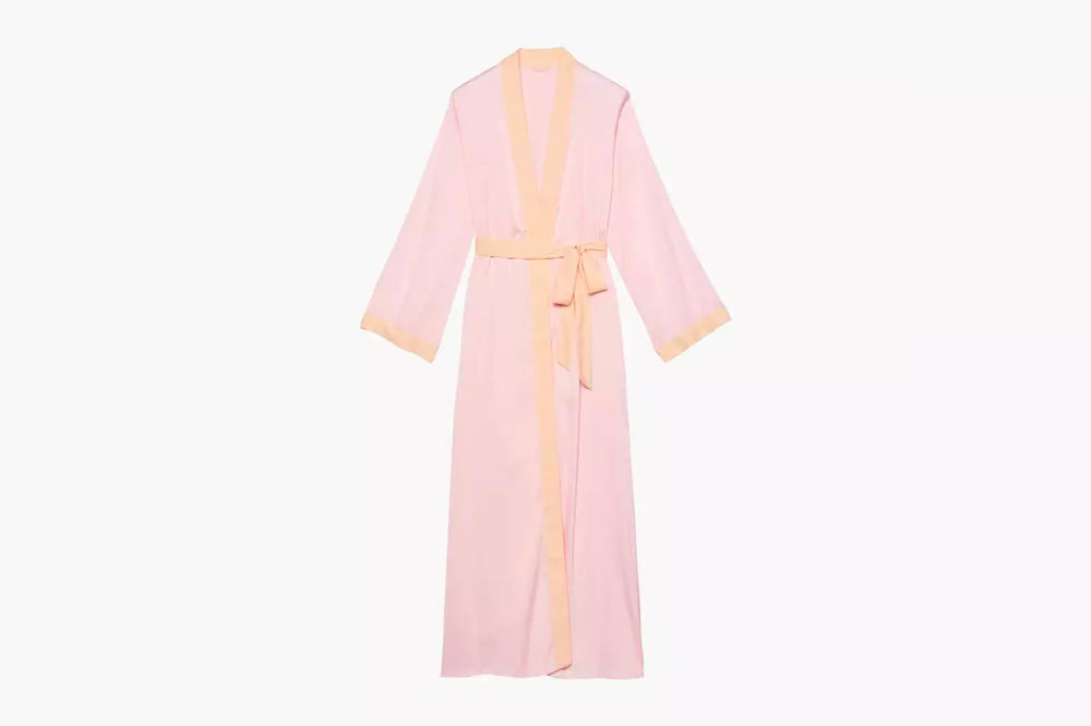 Rihanna Savage X Fenty Lingerie Dusty Peach Pink Maxi Robe