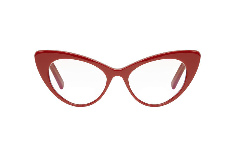 5ffdbb75070 saint laurent bold red cat eye optical glasses acetate made in italy ssense