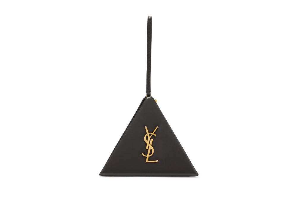 Saint Laurent's Black Leather Pyramid Logo Bag Gold YSL Anthony Vaccarello