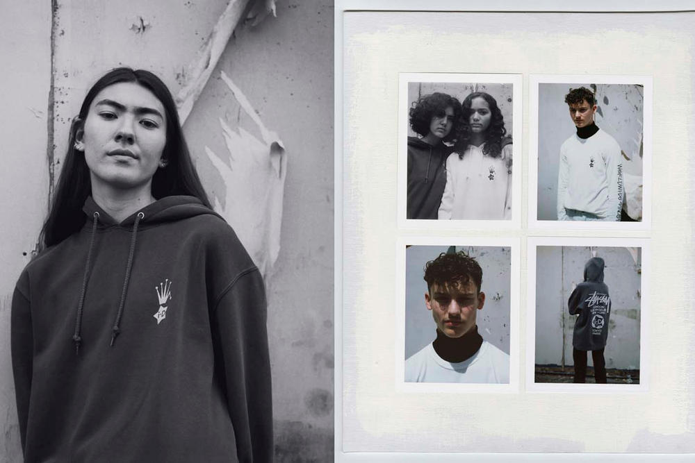 i-D x Stussy Collection Hoodie Black Shirt White