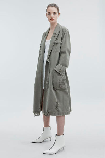 T by Alexander Wang Pre-Fall 2018 Collection Pajama Utility Trench Coat Dark Green