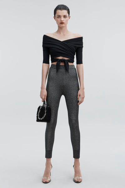T by Alexander Wang Pre-Fall 2018 Collection Lurex Leggings Black