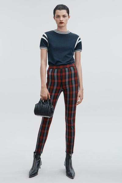 T by Alexander Wang Pre-Fall 2018 Collection Plaid Leggings Maroon