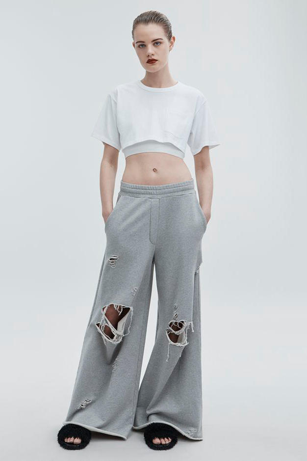 T by Alexander Wang Pre-Fall 2018 Collection Distressed Sweatpants Light Gray