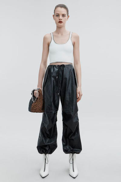 T by Alexander Wang Pre-Fall 2018 Collection Faux Leather Pant Black