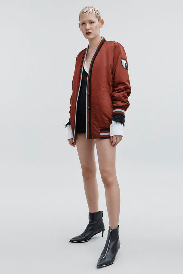 T by Alexander Wang Pre-Fall 2018 Collection Bomber Cardigan Maroon