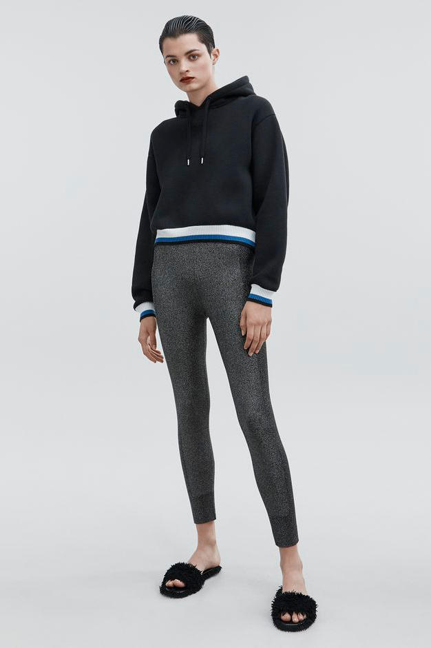 T by Alexander Wang Pre-Fall 2018 Collection Dense Fleece Hoodie Black