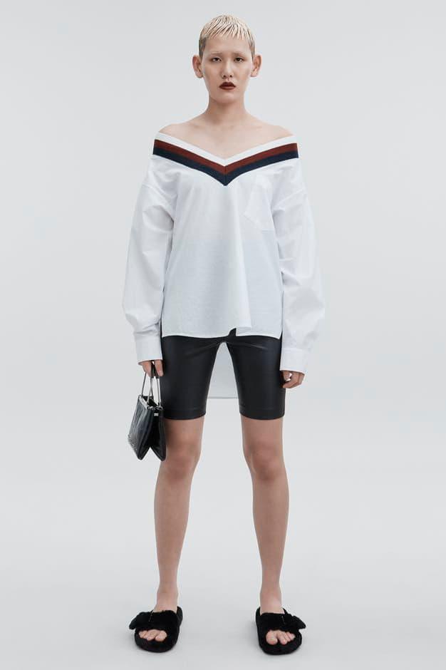 T by Alexander Wang Pre-Fall 2018 Collection Rib Trim Cotton Poplin Shirt White