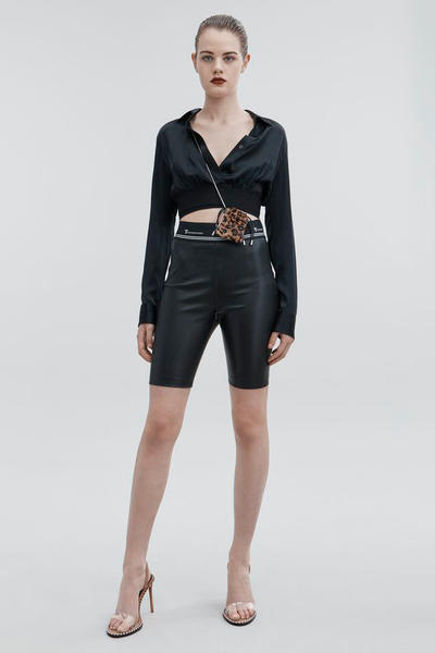 T by Alexander Wang Pre-Fall 2018 Collection Silk Charmeuse Crop Shirt Leather Biker Shorts Black