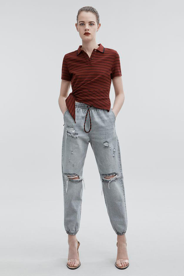 T by Alexander Wang Pre-Fall 2018 Collection Side Knot Polo Maroon