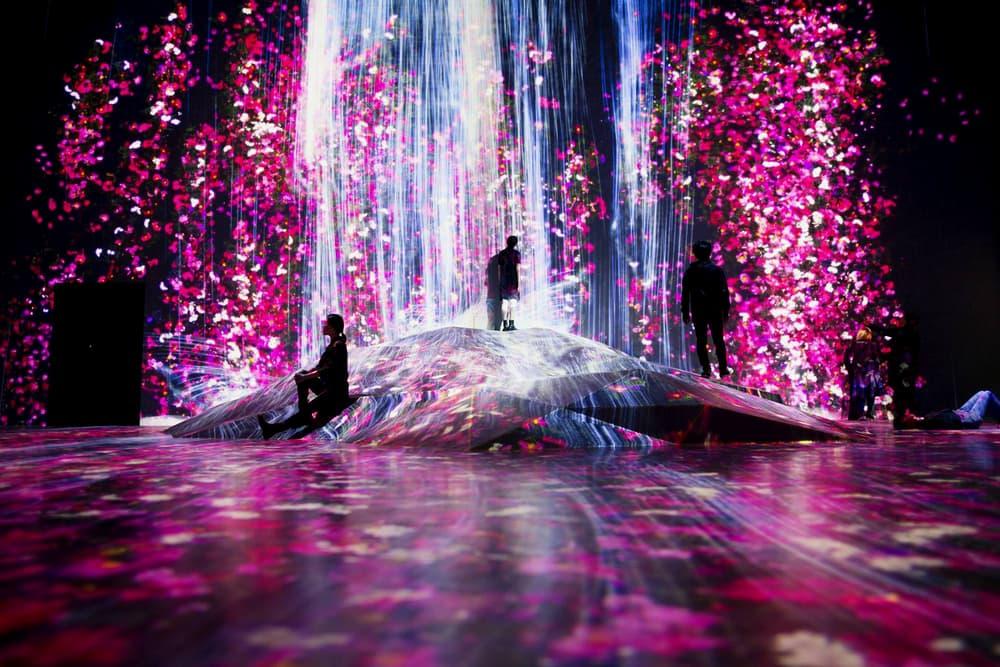 teamLab Borderless Digital Art Museum Installation Tokyo Japan Projection Waterfall Flowers