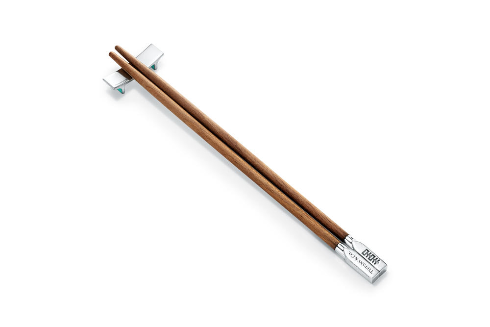 Tiffany & Co. Flora & Fauna Home Accessories Collection Chopsticks Set In American Walnut and Sterling Silver