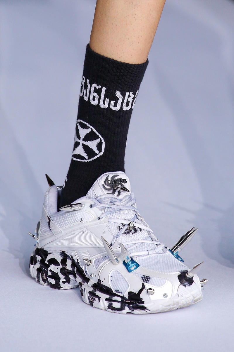 Vetements Reebok Spike White Black Spring Summer 2019 Show Paris Fashion Week Men's