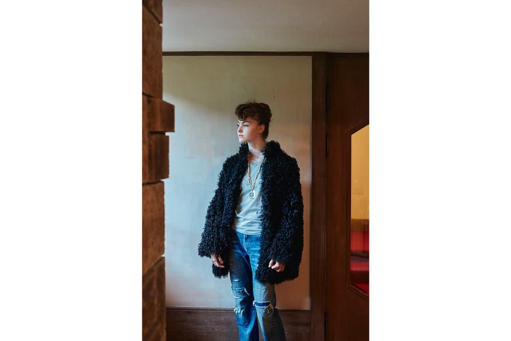 WMV Fall/Winter 2018 Collection Veggie Fur Coat Black Box Tee Black Journeyman Pants Blue