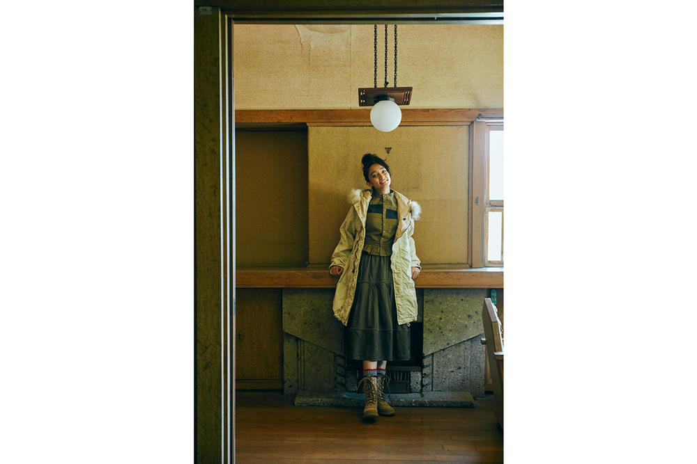 WMV Fall/Winter 2018 Collection Glacier Point Parka Cream Grangier Shirt Green Elevation Skirt Navy