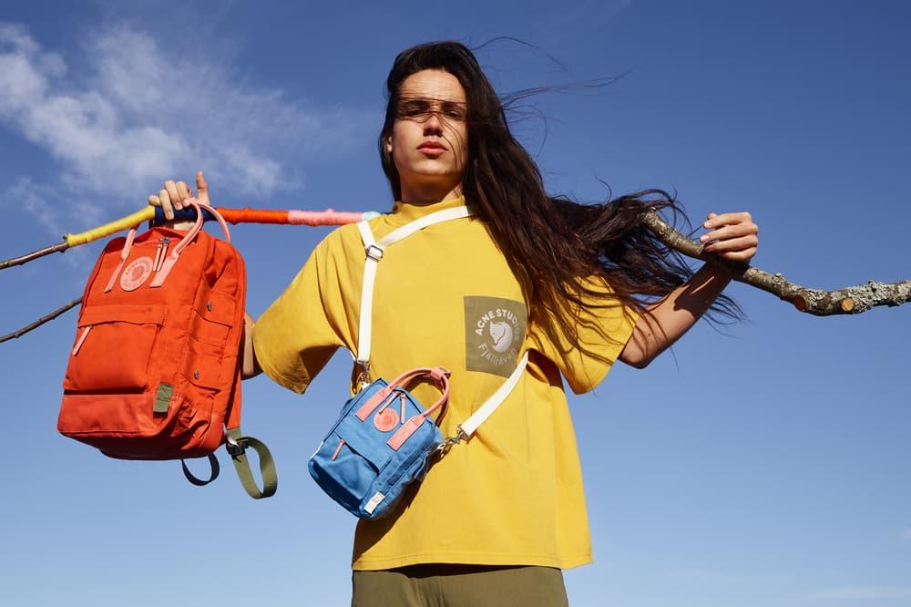 Acne Studios x Fjällräven Collaboration Lookbook T-shirt Yellow Kanken Backpack Orange Blue