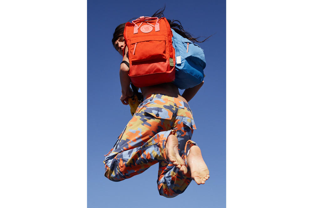 Acne Studios x Fjällräven Collaboration Lookbook Kanken Backpack Orange Blue Camouflage Pants