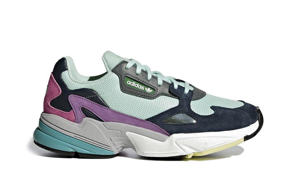 adidas Originals Falcon Sneaker Shoe Silhouette Chunky Panel Mint Navy Blue Pink