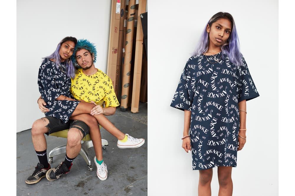 Awake NY Mid-Summer 2018 Lookbook All Over Print T-shirt Navy Yellow