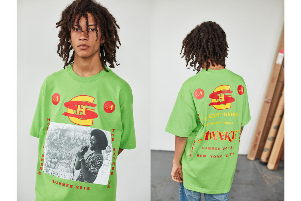 Awake NY Mid-Summer 2018 Lookbook Gil Scott T-shirt Green