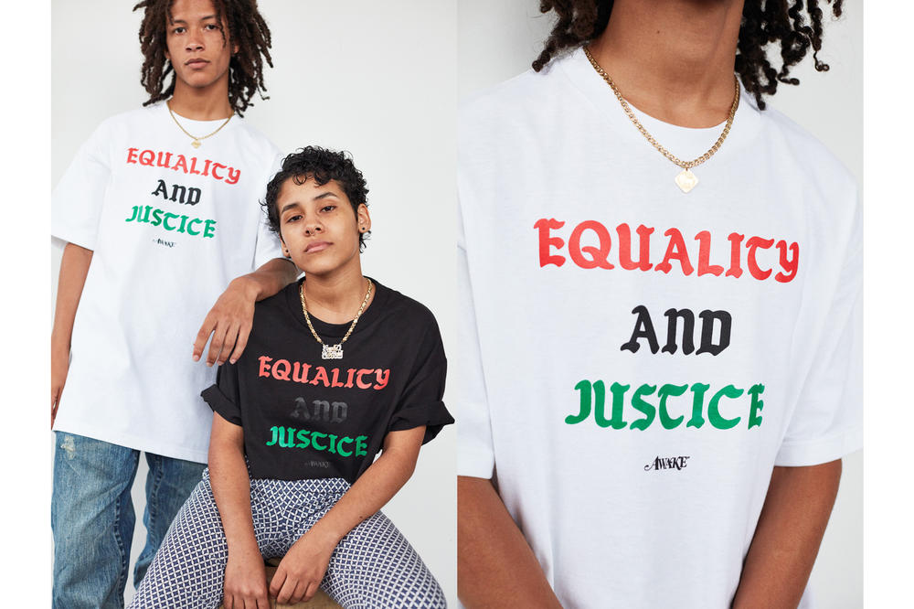 Awake NY Mid-Summer 2018 Lookbook Equality and Justice T-shirt White Black