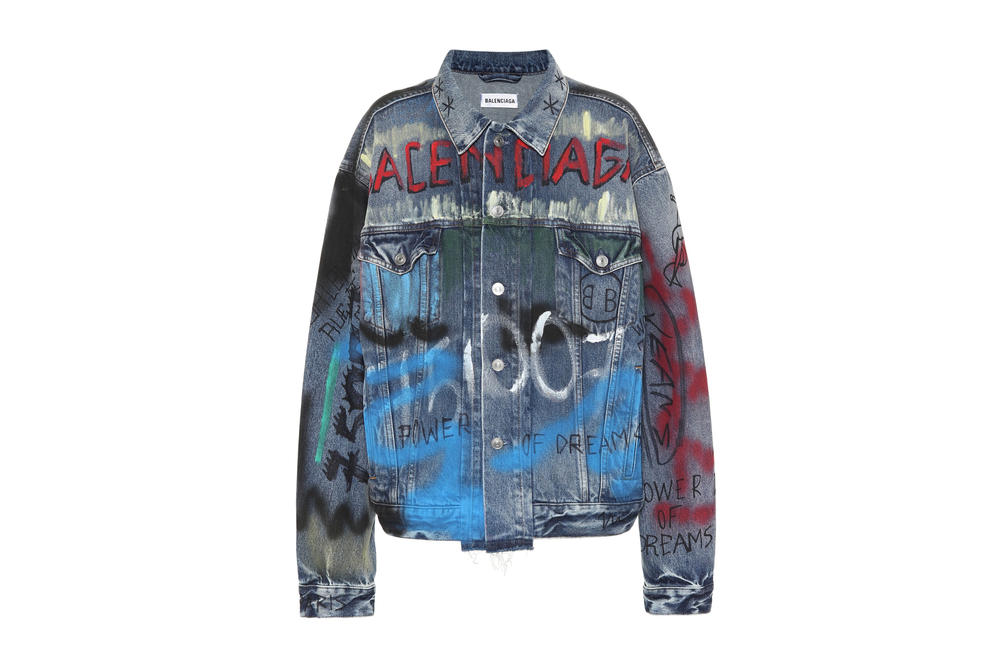 Balenciaga Fall/Winter 18 Graffiti Denim Jacket Print Colorful