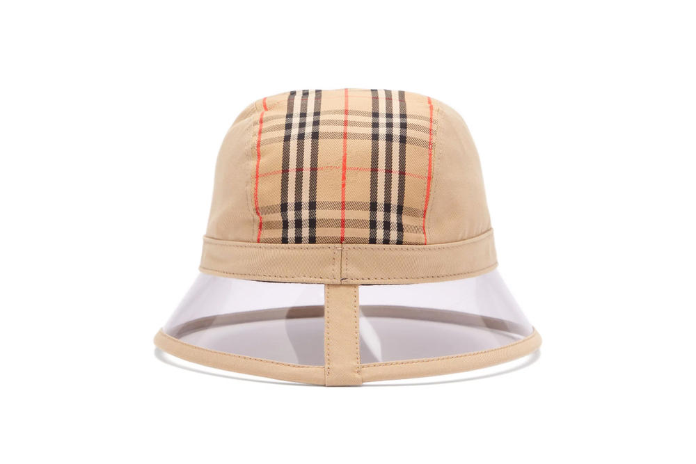 Burberry PVC Check Bucket Hat Accessory Beige Print Vintage