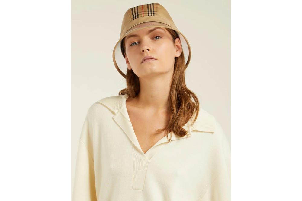 158dfe66847 Burberry PVC Check Bucket Hat Accessory Beige Print Vintage