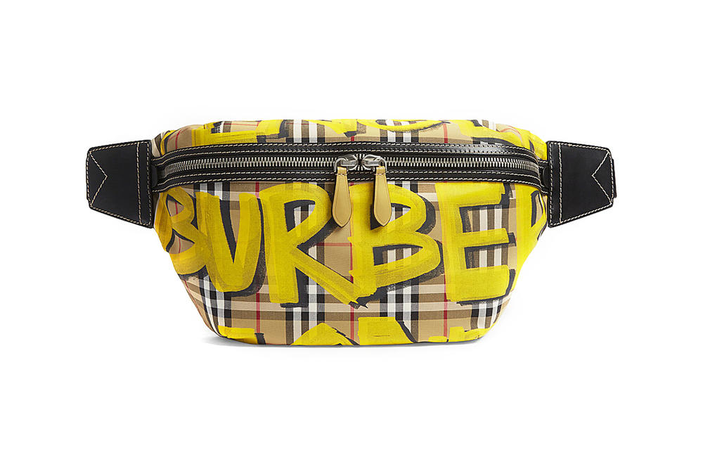Burberry Graffiti Logo Print Bum Bag Fanny Pack Bright Yellow