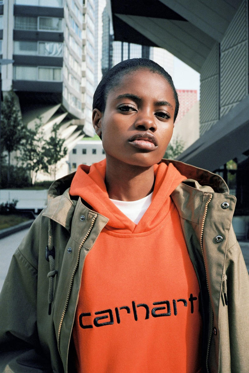 Carhartt WIP Fall/Winter 2018 Collection Lookbook Jacket Tan Hoodie Orange