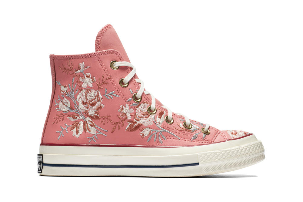 826202553fee Converse Chuck 70 Leather Embroidered Floral Sneakers Turmeric Gold Punch  Coral Pink Washed Denim Obsidian Blue
