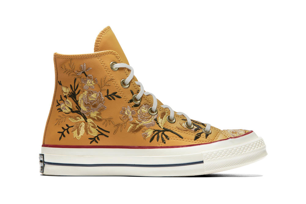 Converse Chuck 70 Leather Embroidered Floral Sneakers Turmeric Gold Punch Coral Pink Washed Denim Obsidian Blue Papyrus Beige Driftwood White