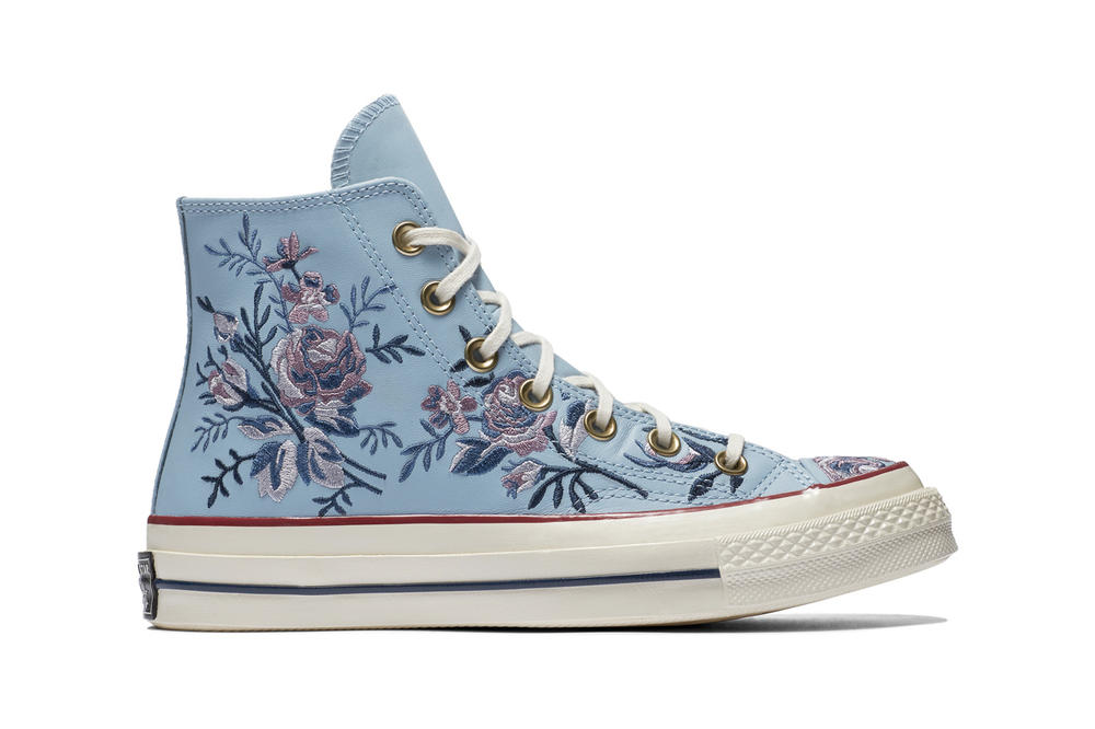 18ce7fa12359 Converse Chuck 70 Leather Embroidered Floral Sneakers Turmeric Gold Punch  Coral Pink Washed Denim Obsidian Blue