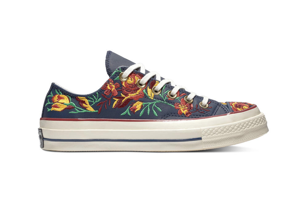 Converse Chuck 70 Leather Embroidered Floral Sneakers Turmeric Gold Punch  Coral Pink Washed Denim Obsidian Blue 7c53267b6