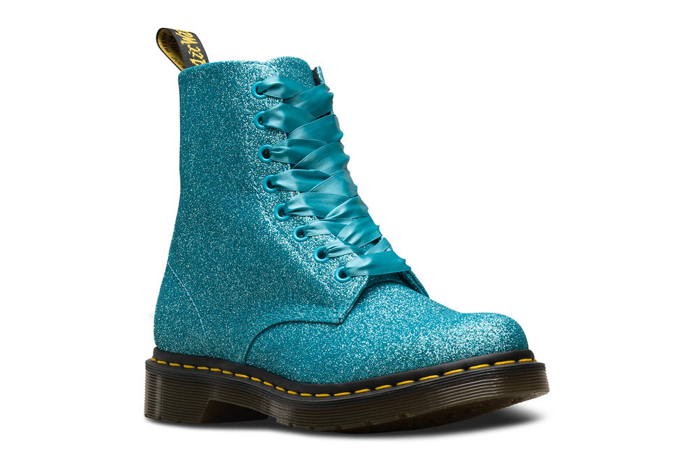 Dr. Doc Martens 1460 Pascal Glitter Boots Pale Gold Pewter Silver Turquoise Purple