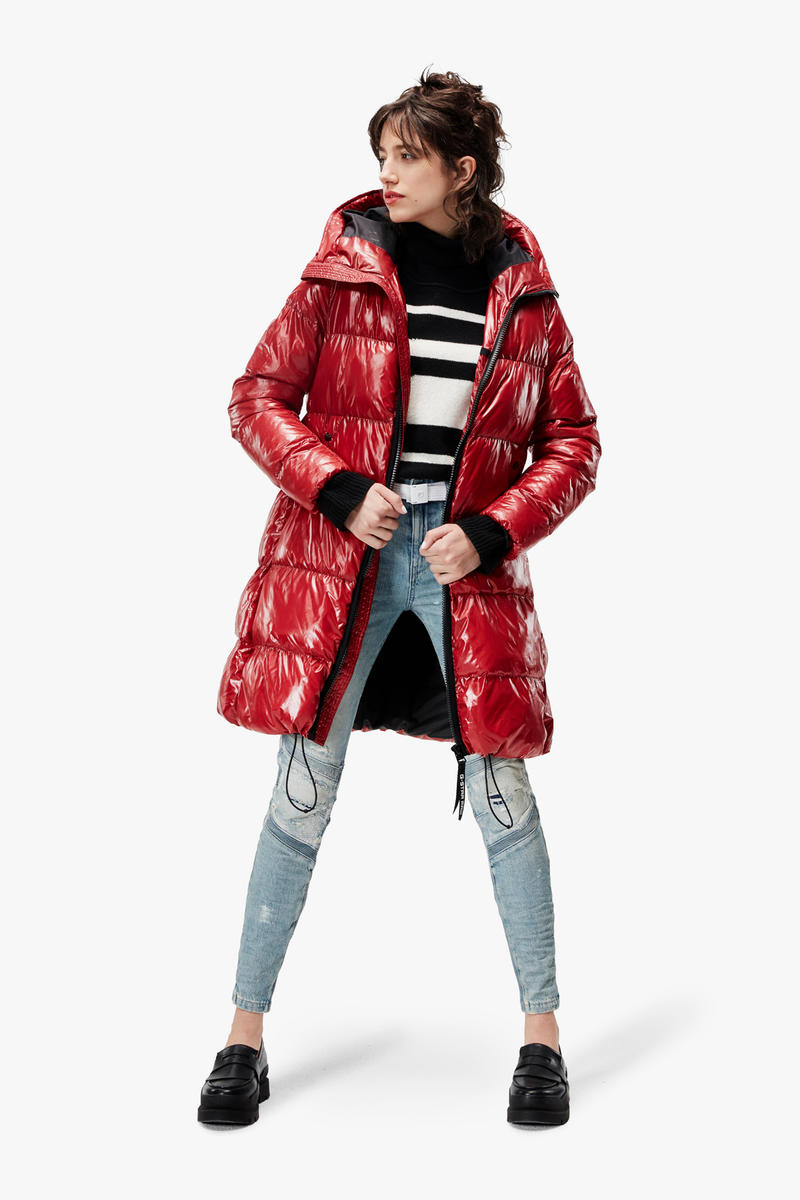 G-Star RAW Fall/Winter 2018 Lookbook Puffer Coat Red Striped Sweater Blue White