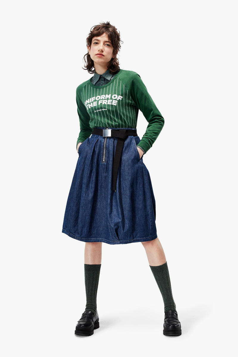 G-Star RAW Fall/Winter 2018 Lookbook Shirt Green Skirt Blue