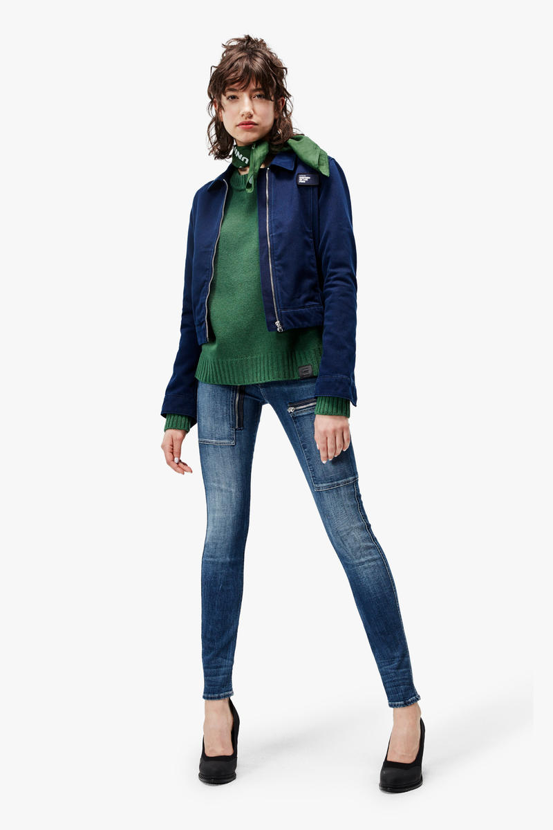 G-Star RAW Fall/Winter 2018 Lookbook Shirt Green Jacket Jeans Blue