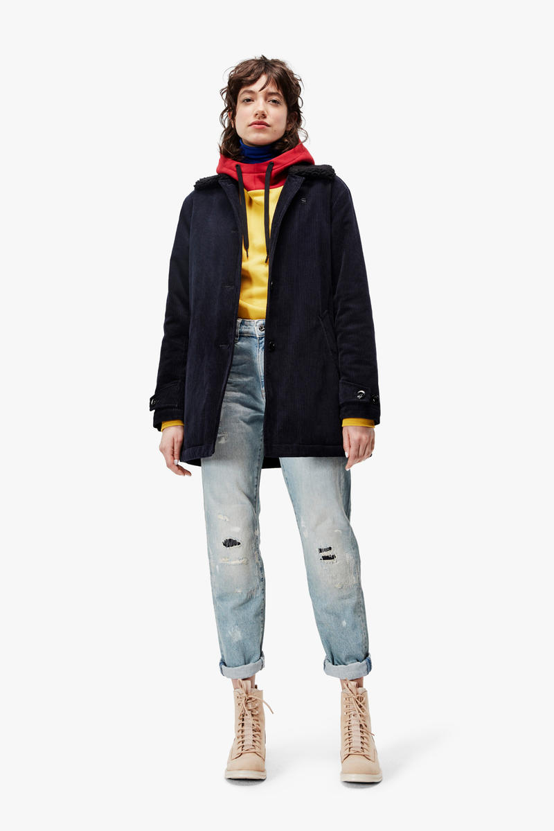 G-Star RAW Fall/Winter 2018 Lookbook Shirt Yellow Scarf Red Jacket Black Jeans Blue