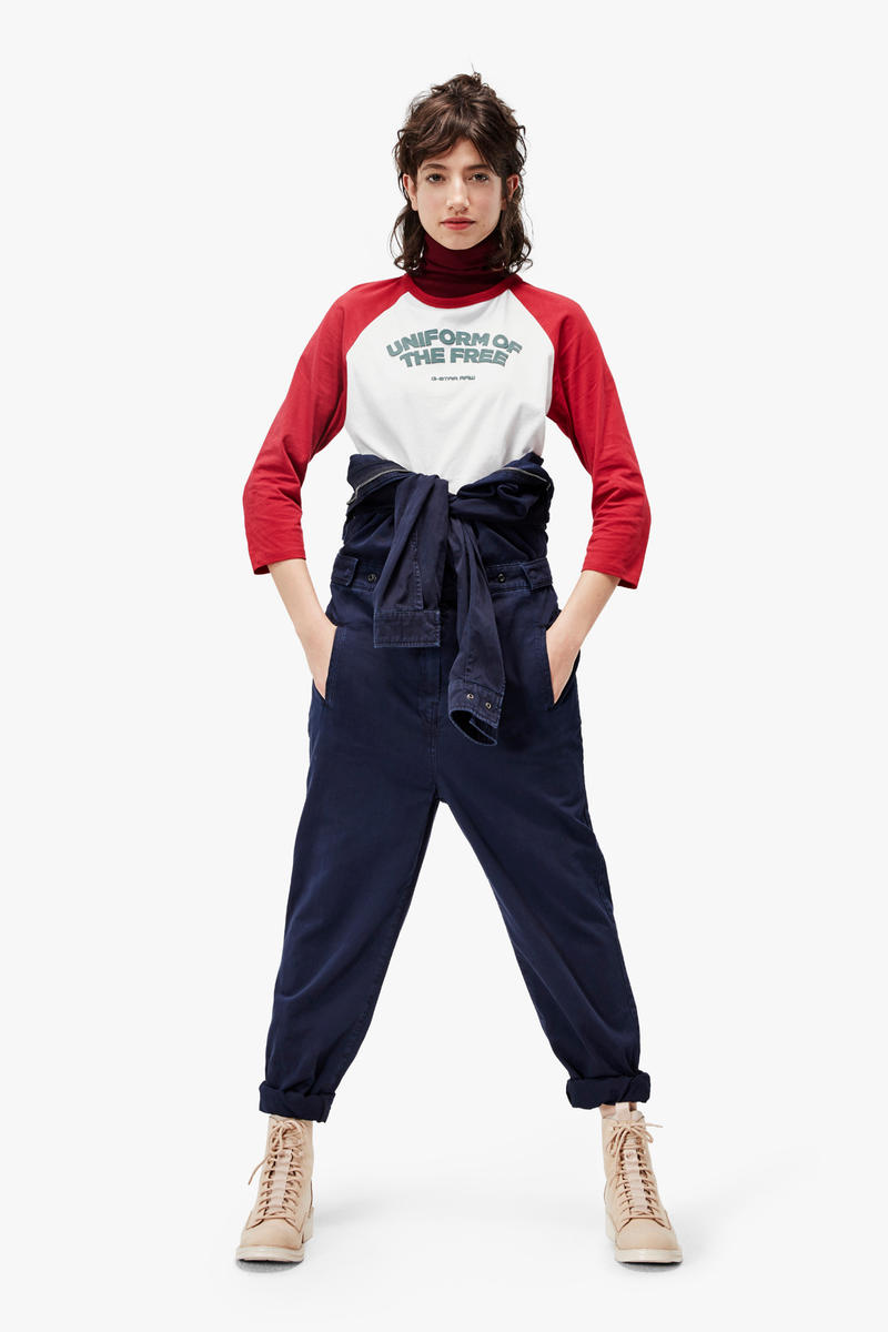 G-Star RAW Fall/Winter 2018 Lookbook Shirt Red White Pants Navy
