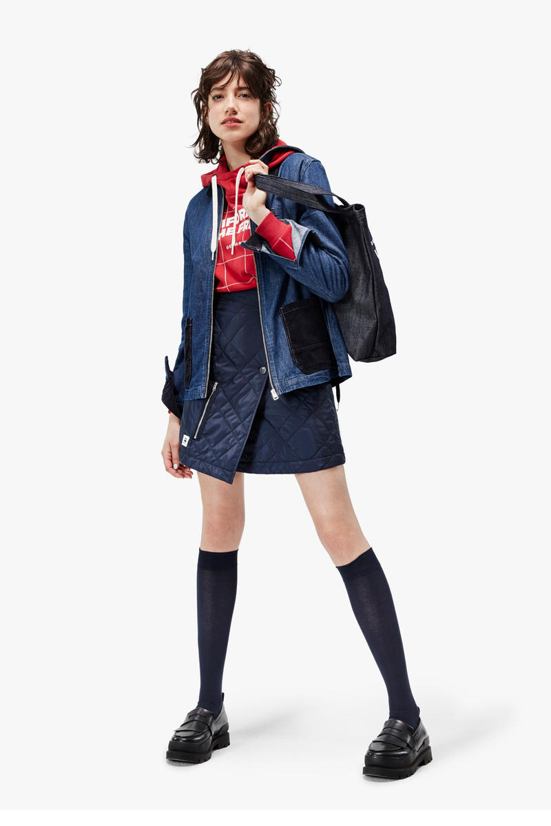 G-Star RAW Fall/Winter 2018 Lookbook Skirt Jacket Blue Shirt Red