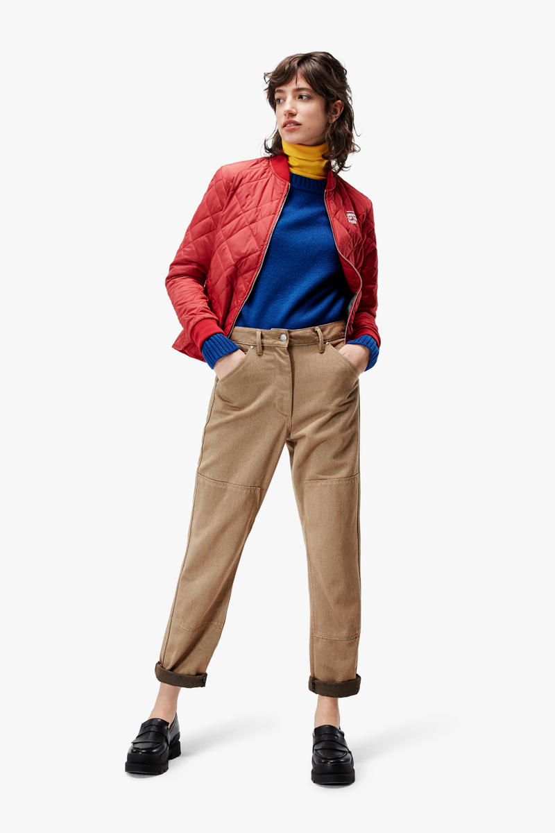 G-Star RAW Fall/Winter 2018 Lookbook Jacket Red Shirt Blue Pants Khaki