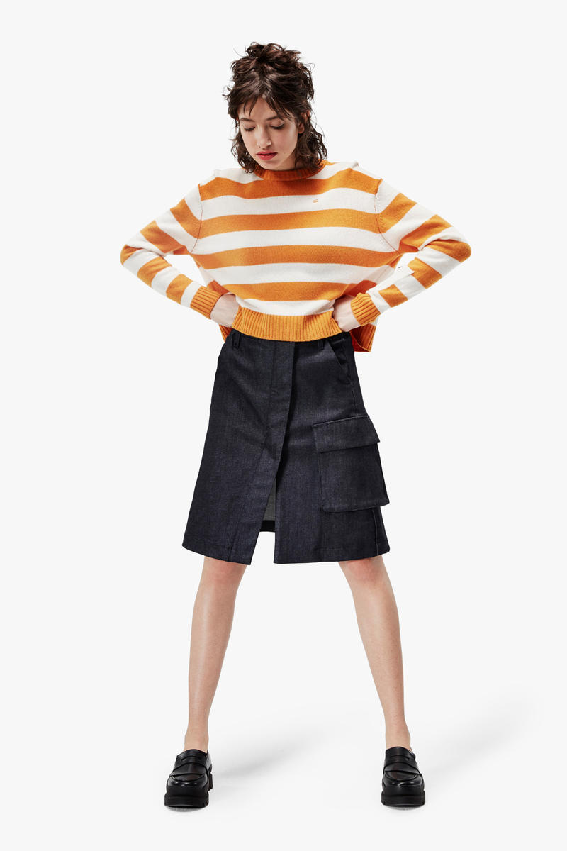 G-Star RAW Fall/Winter 2018 Lookbook Striped Sweater Yellow White Skirt Blue