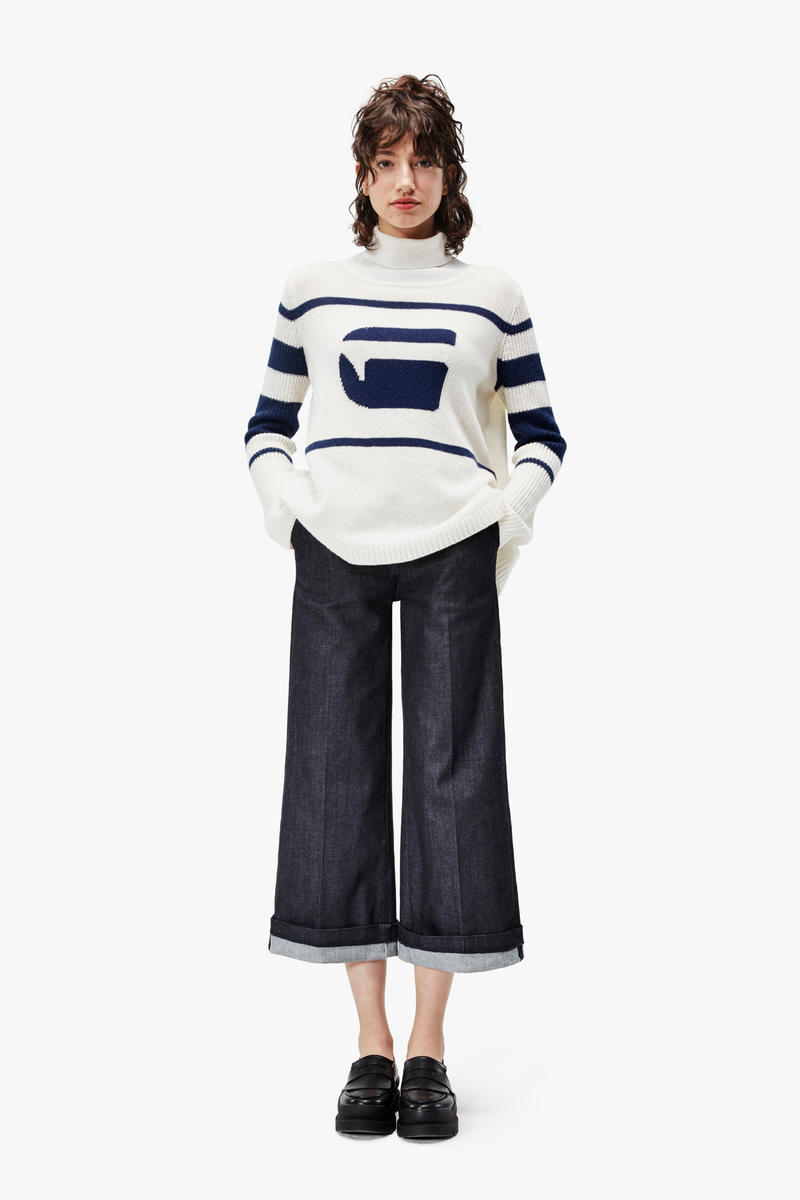 G-Star RAW Fall/Winter 2018 Lookbook Striped Sweater White Blue Pants Navy