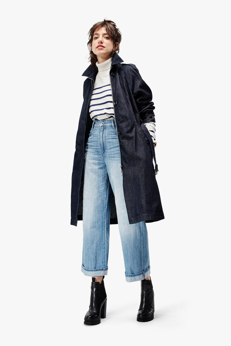 G-Star RAW Fall/Winter 2018 Lookbook Striped Shirt White Blue Coat Black