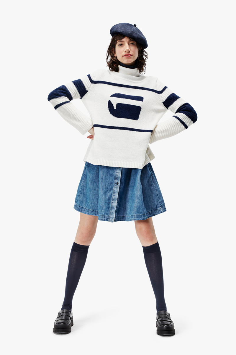 G-Star RAW Fall/Winter 2018 Lookbook Striped Sweater Blue White Beret Navy