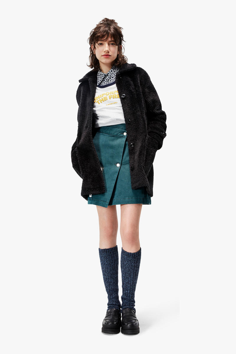 G-Star RAW Fall/Winter 2018 Lookbook Shirt White Jacket Black Skirt Green