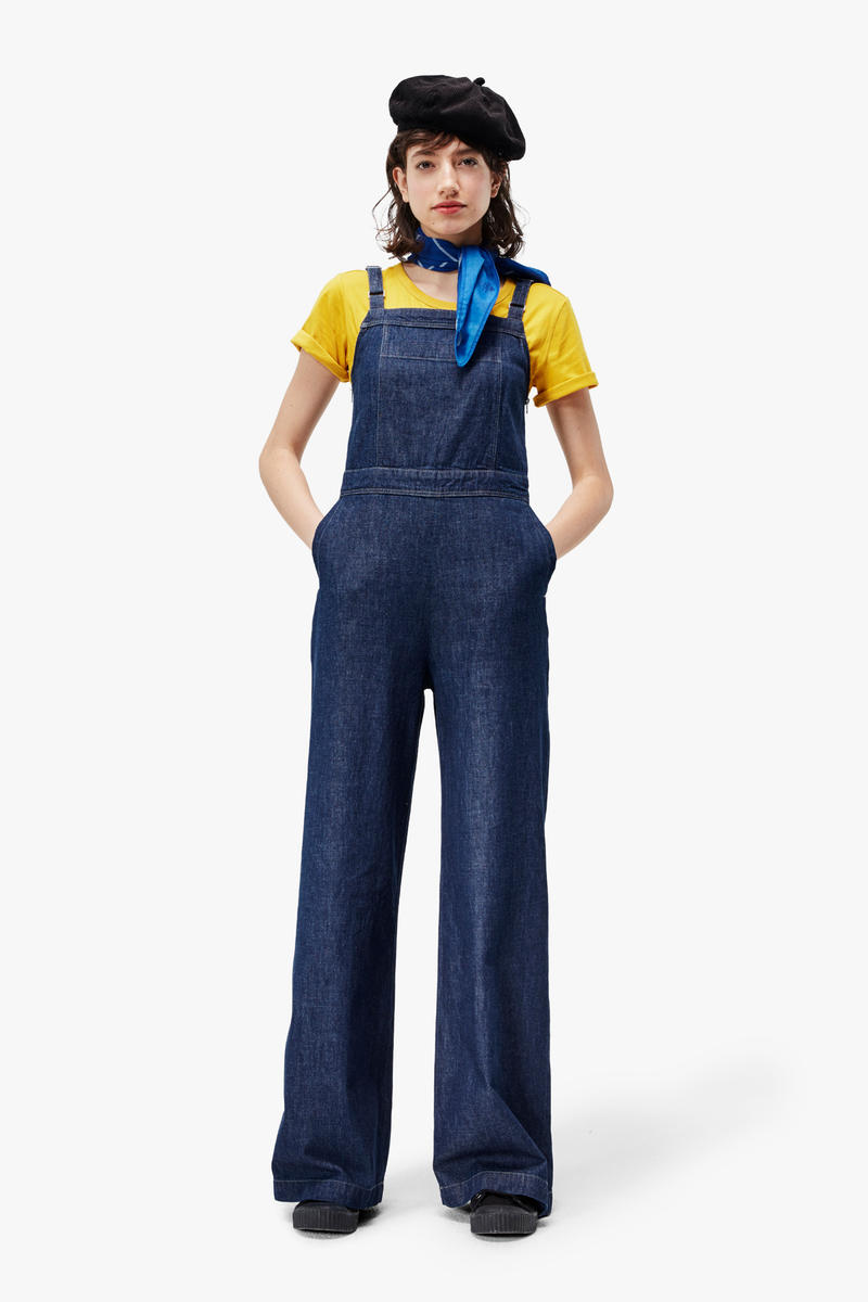 G-Star RAW Fall/Winter 2018 Lookbook Denim Overalls Blue Shirt Yellow Beret Black