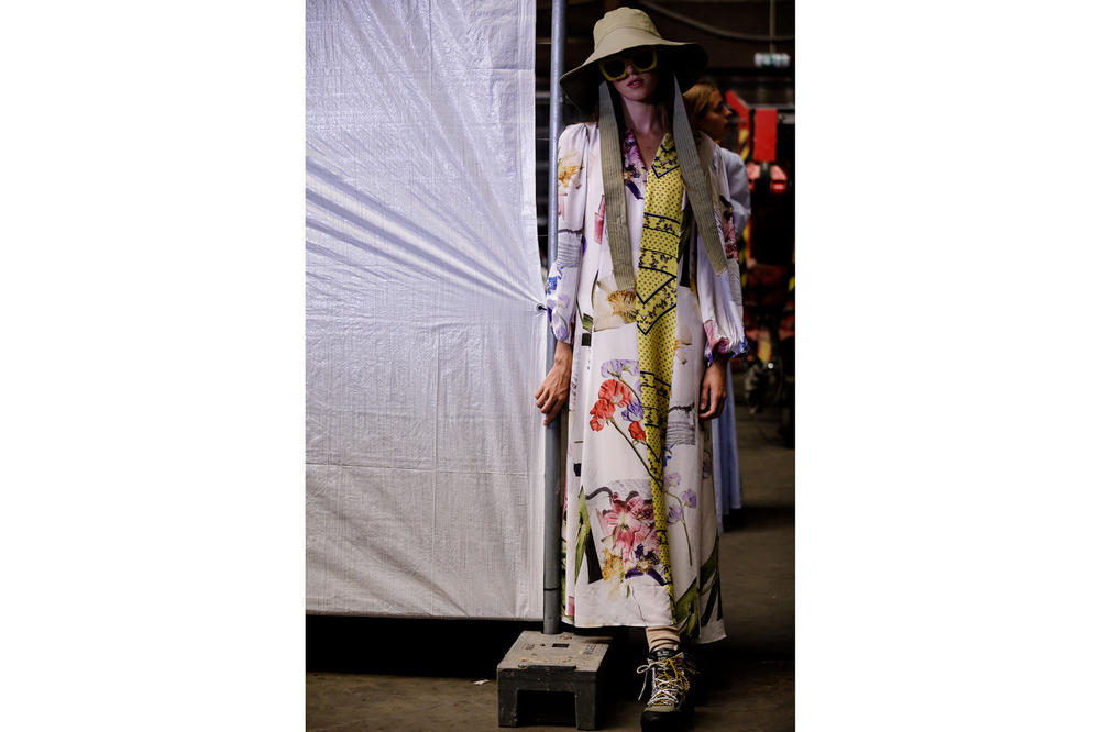 GANNI Copenhagen Fashion Week Backstage Spring Summer 2019 SS19 Floral Dress White
