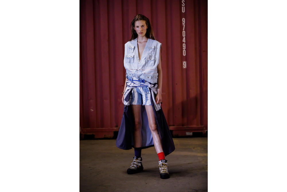 GANNI Copenhagen Fashion Week Backstage Spring Summer 2019 SS19 Denim Top Shorts White Blue
